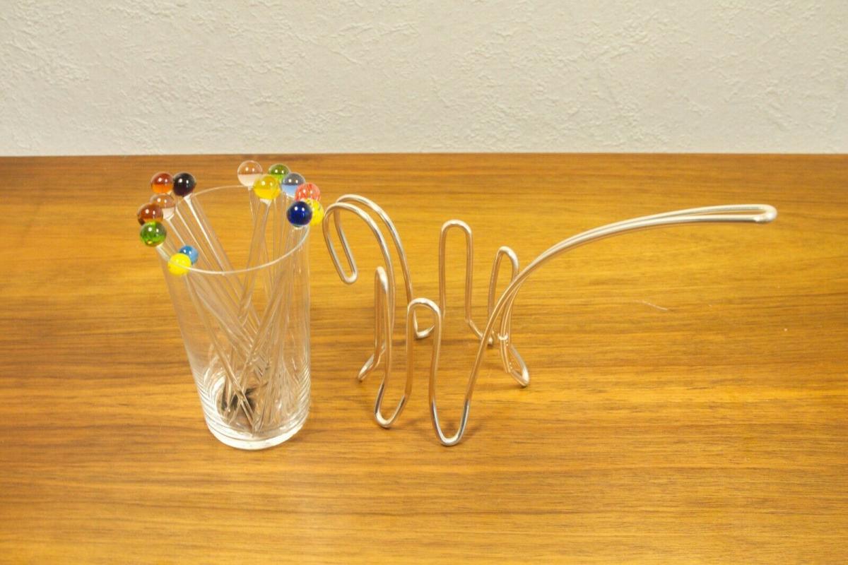 Vintage snack glas mit chrom halter & 12 glaspicker kunstglas manufaktur 60er 6