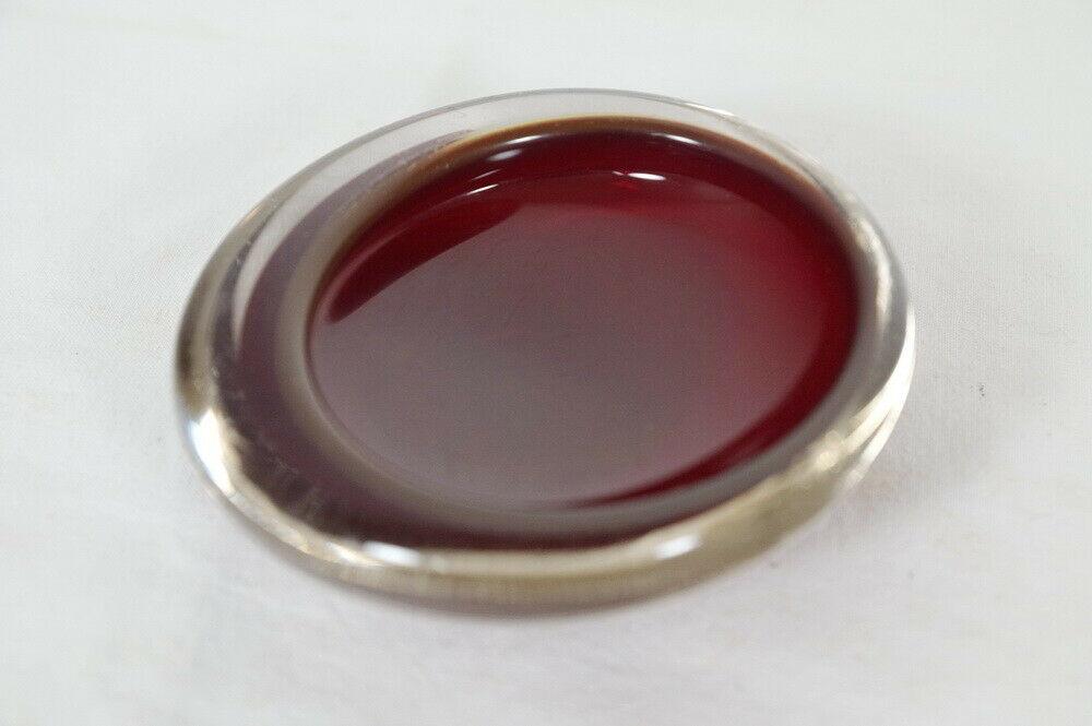 Kleine midcentury glas schale glasschale rot sommerso stil skandinavien 60er 0