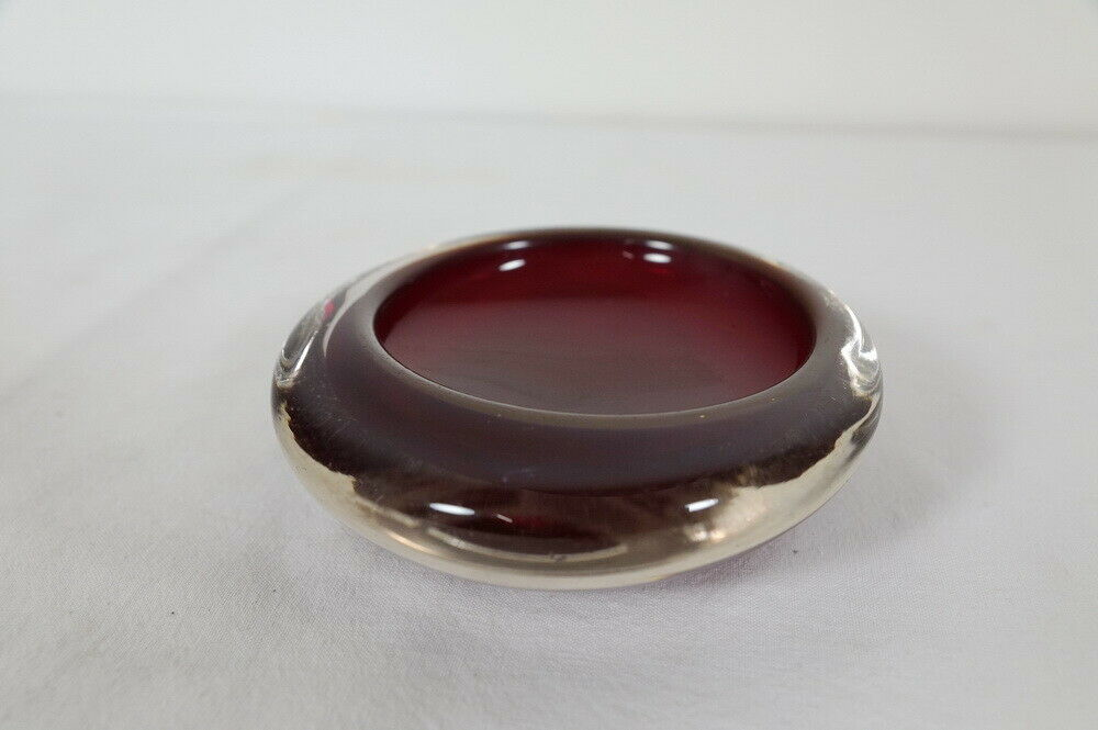 Kleine midcentury glas schale glasschale rot sommerso stil skandinavien 60er 2