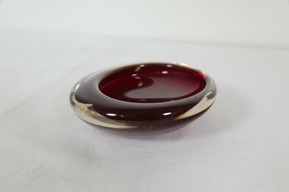 Kleine midcentury glas schale glasschale rot sommerso stil skandinavien 60er 3