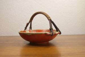 Vintage schale schälchen mit rattan griff rot orange glasur 3348 aus den 50er n