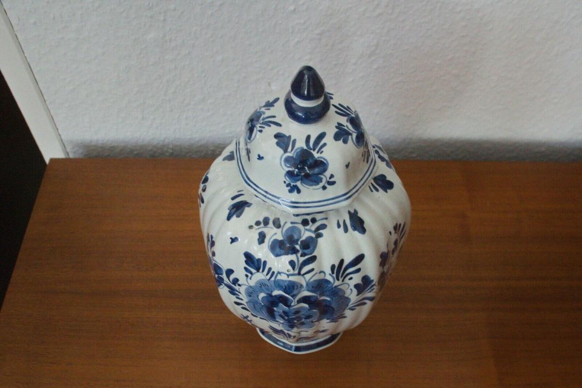Delft porzellan vase urne deckelvase #246 handbemalt c. delfts 60er jahre objekt 2