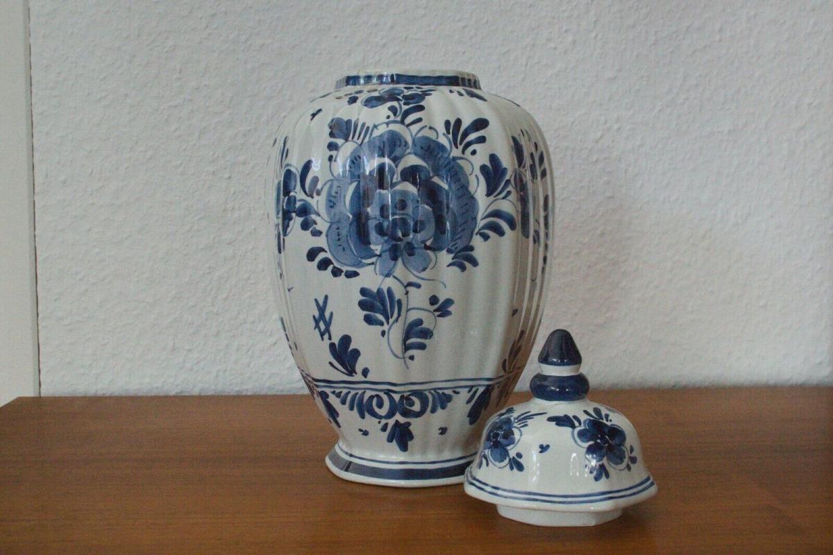 Delft porzellan vase urne deckelvase #246 handbemalt c. delfts 60er jahre objekt 3