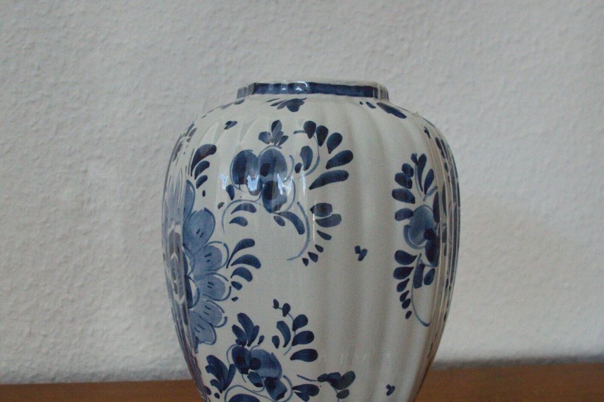 Delft porzellan vase urne deckelvase #246 handbemalt c. delfts 60er jahre objekt 4