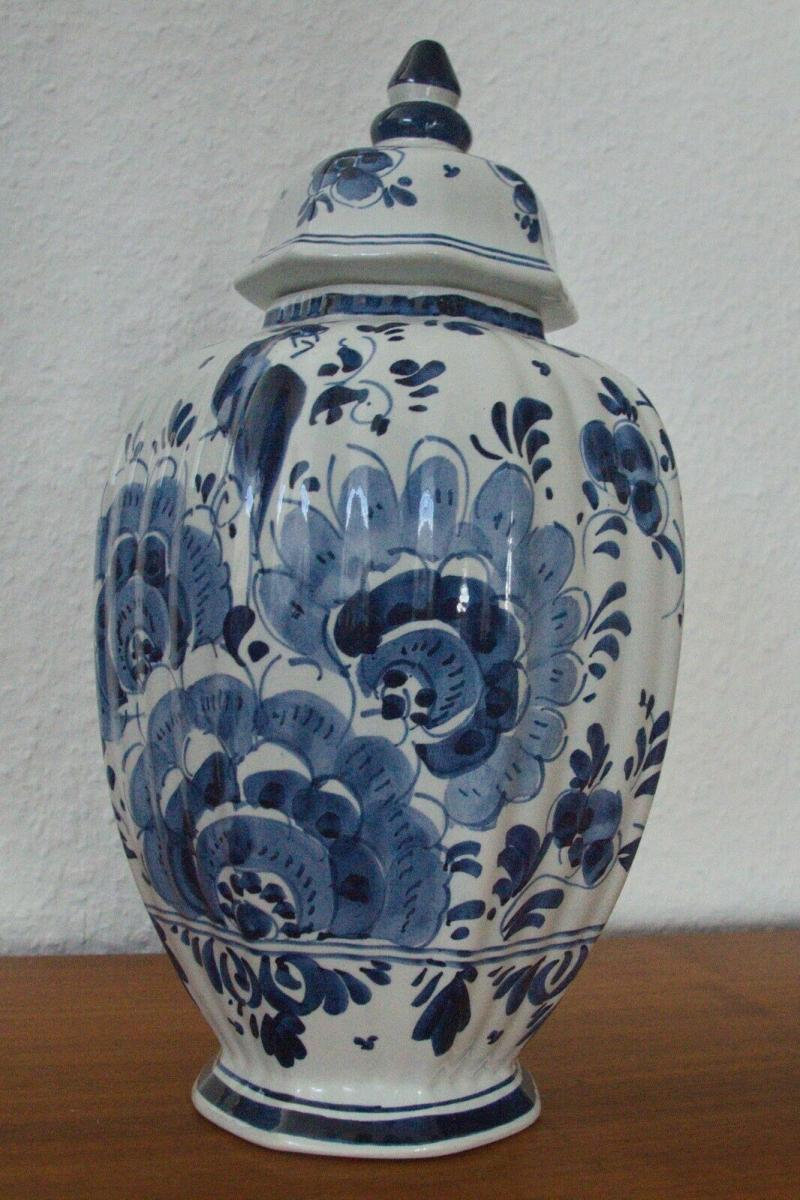 Delft porzellan vase urne deckelvase #246 handbemalt c. delfts 60er jahre objekt 5
