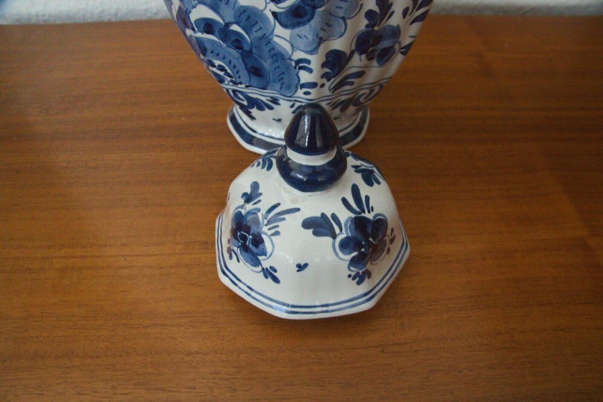 Delft porzellan vase urne deckelvase #246 handbemalt c. delfts 60er jahre objekt 7