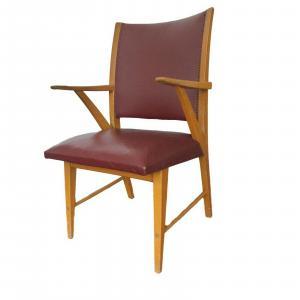 Fröscher möbel stuhl armlehnen schreibtischstuhl kunstleder skai vintage 50er #2