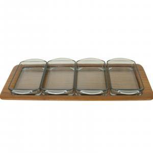 Digsmed denmark teak tablett mit 4 glasschalen dänemark modell 710 60er 1964