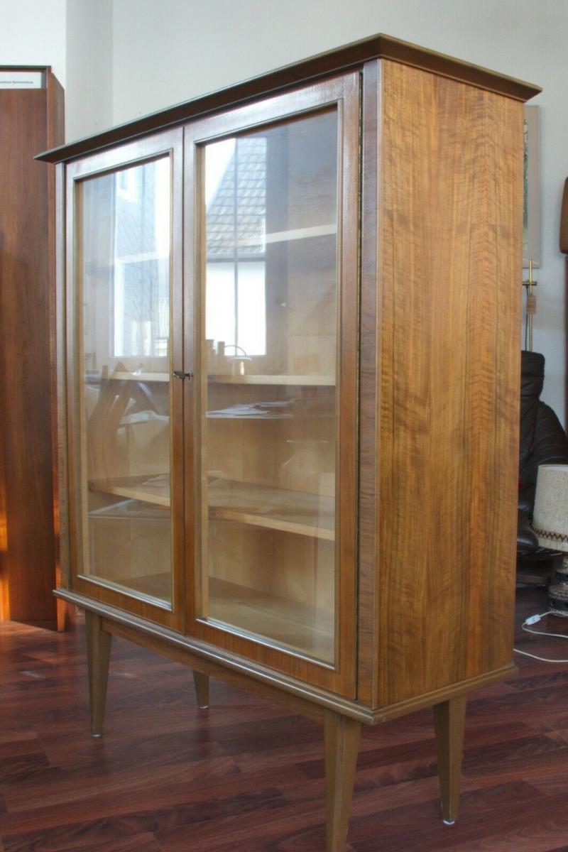 Mid century vitrine highboard nussbaum ahorn glastüren 3 böden 50er 60er jahre 3
