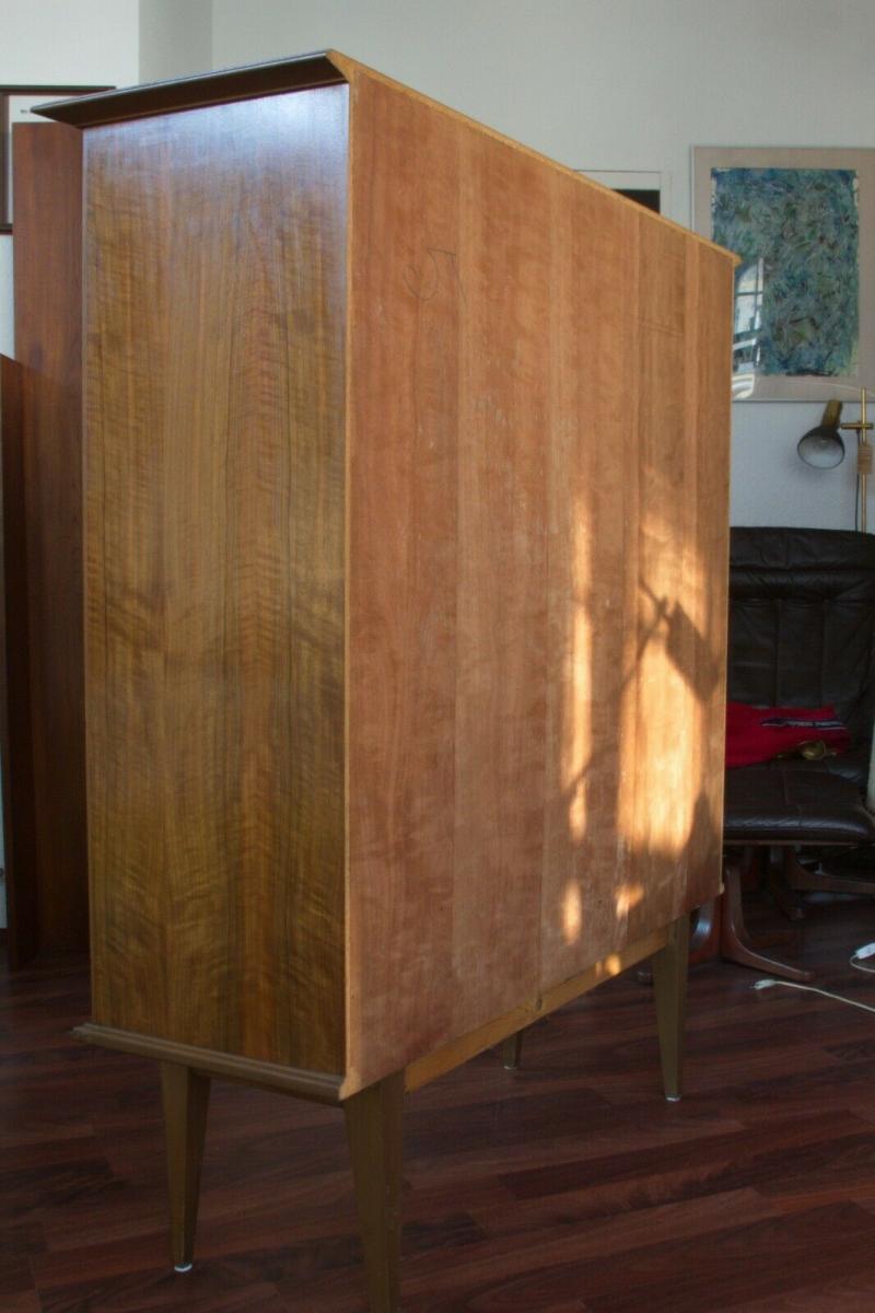 Mid century vitrine highboard nussbaum ahorn glastüren 3 böden 50er 60er jahre 4