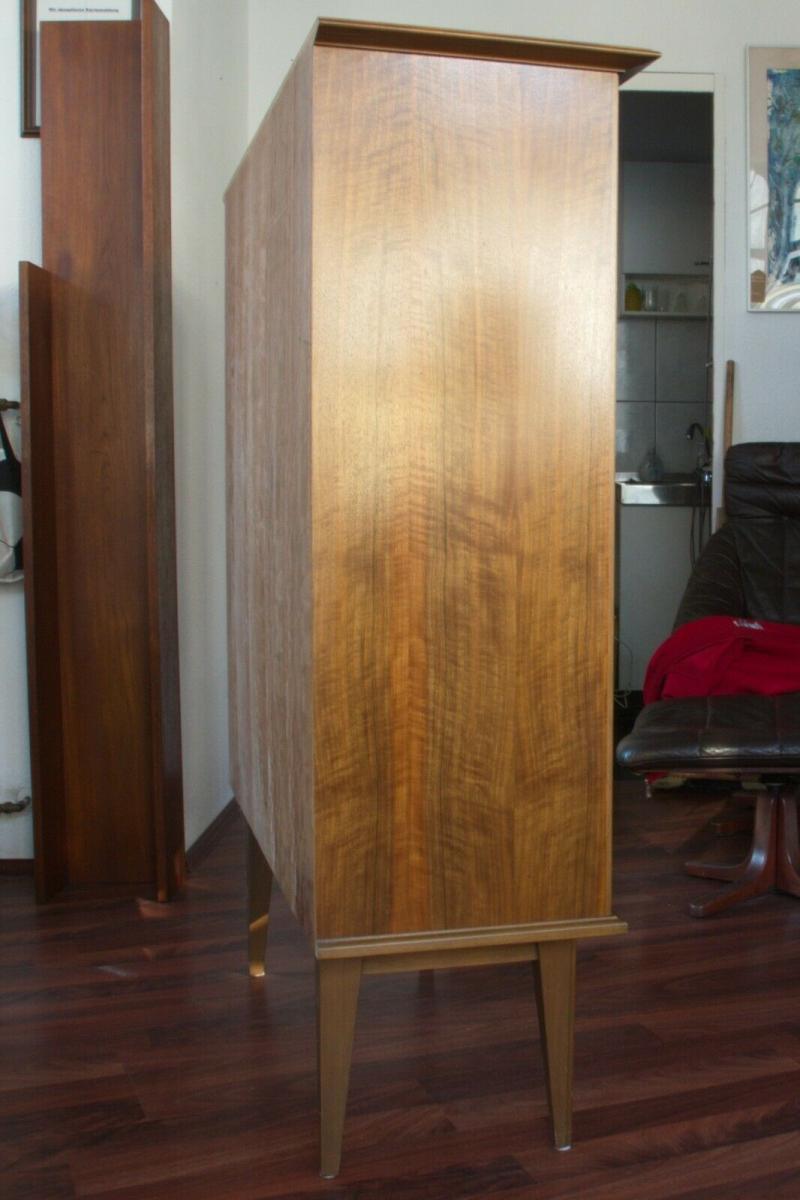 Mid century vitrine highboard nussbaum ahorn glastüren 3 böden 50er 60er jahre 5