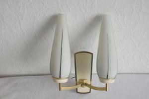 Vintage wandlampe lampe mit 2 gläser + messing von kaiser leuchten 50er 60er
