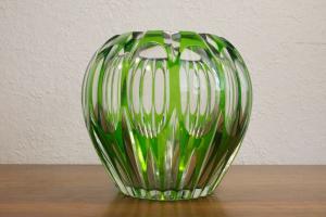 Mid century murano? tischvase rund dekor glas vase grün geschliffen 60er jahre