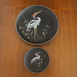 2 vintage wandteller | adele bolz für ruscha keramik 717 1 wandbild kranich 60er
