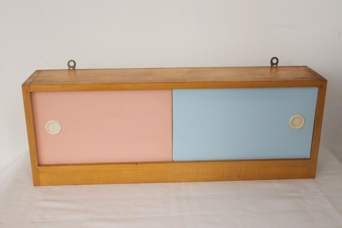 Pastell farben vintage holz wandschrank resopal für vorhang haken 50er jahre 1