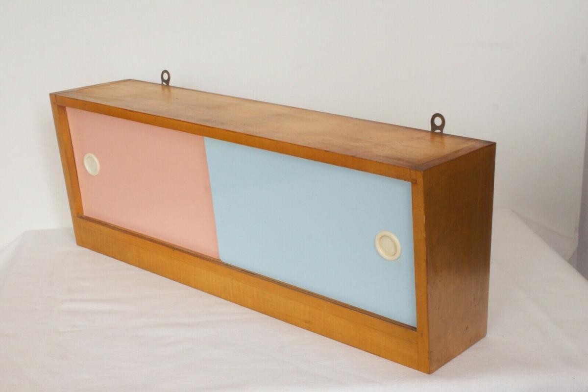 Pastell farben vintage holz wandschrank resopal für vorhang haken 50er jahre 2