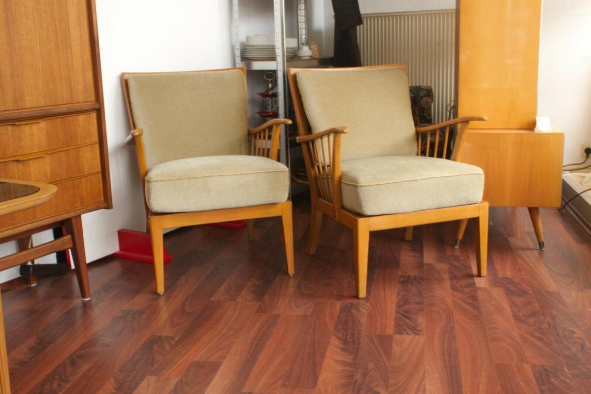 2/2 vintage sessel knoll antimott walter knoll kirschbaum samtbezug 50er jahre 1