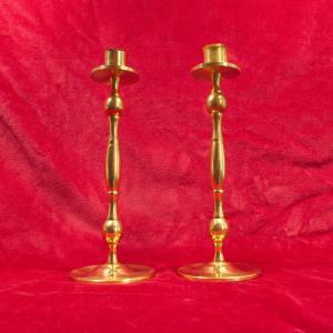 Paar vermessingte tischleuchter kerzenleuchter kerzenständer gold 60er jahre