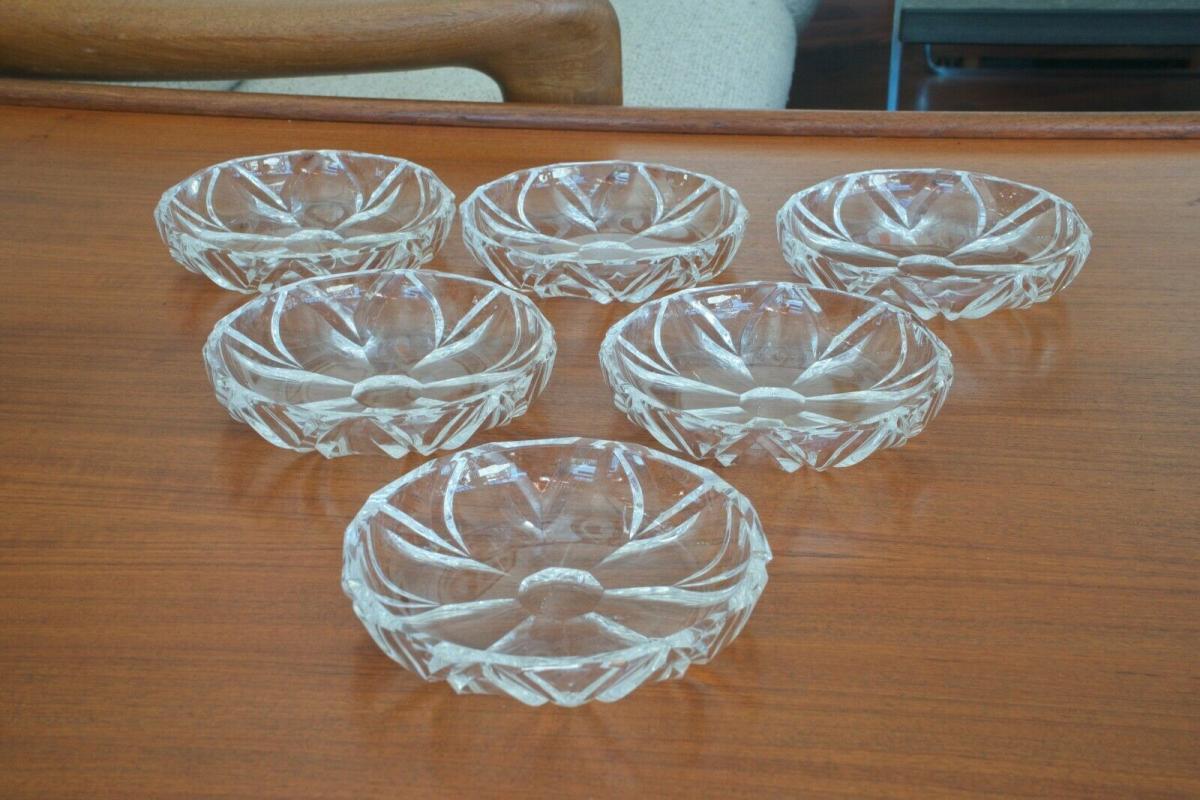 6 alte Kristall  Dessertteller Schälchen   Ø ca 15,5 cm