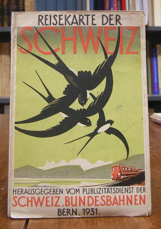 Reisekarte der Schweiz. Hg. vom Publizitätsdienst der Schweizerischen Bundesbahnen. Gefaltete farbige Karte mit zwei Überblickskarten. Blattgröße ca. 77 x 58 cm (2 Falze mit kleinen Einrissen, sonst ordentliches und sauberes Exemplar).