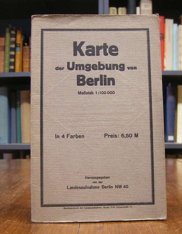 Karte der Umgebung von Berlin. Maßstab 1 : 100 000. In vier Farben.