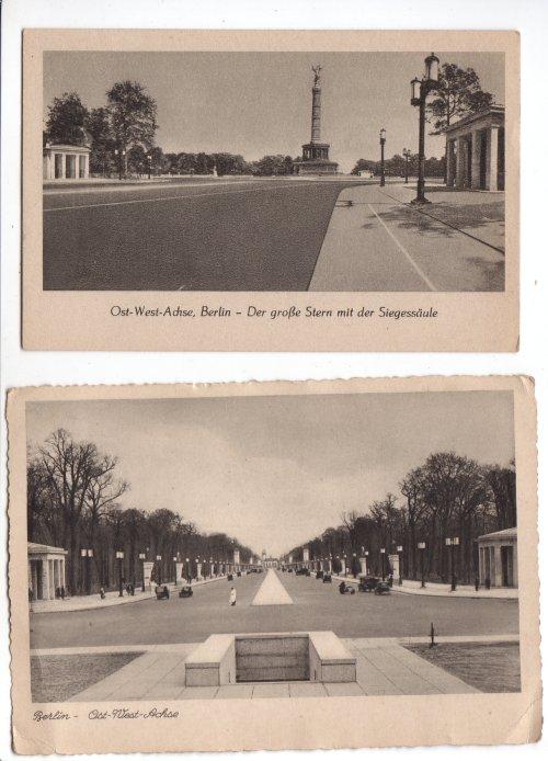 deutschland berlin ost west achse zwei postkarten mit ansichten der 1939 eingeweihten ost. Black Bedroom Furniture Sets. Home Design Ideas