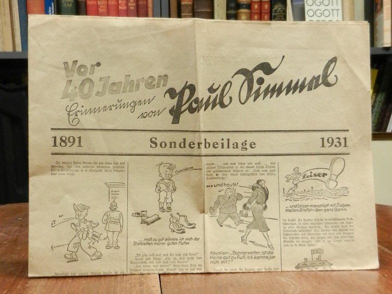 Leiser Schuhe / Paul Simmel: Vor 40 Jahren. Erinnerungen von Paul Simmel 1891 / 1931. Zeitungsformat und -papier (doppelt gefaltet, ein kleiner Einriß im weißen Rand, sonst gutes Exemplar).