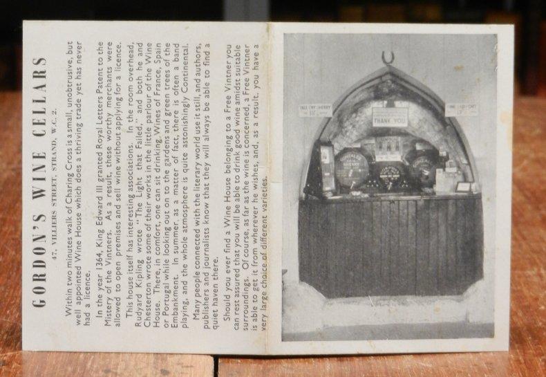 Gordon's Wine Cellars. 47, Villiers Street, Strand, W.C. 2. Price List.