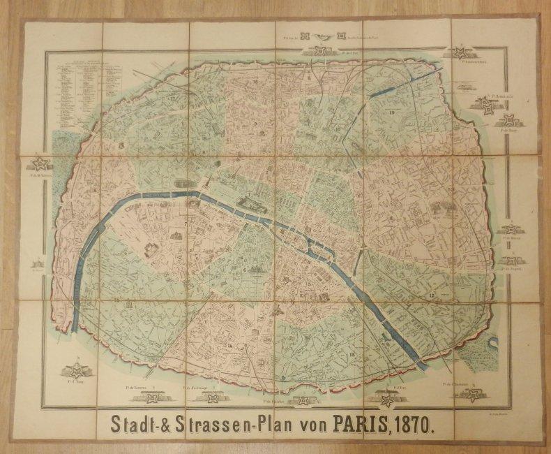 Paris: Stadt- & Strassen-Plan von Paris, 1870. Farbige Lithographie. Blattgröße ca. 64 x 80 cm. In 18 Segmenten alt auf Leinwand aufgezogen.