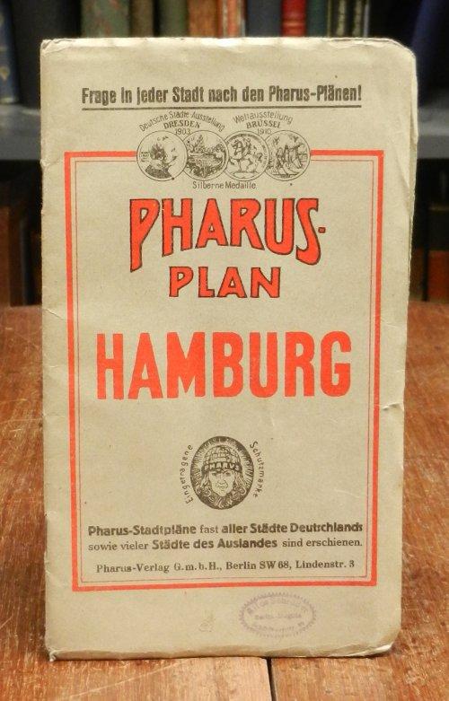 Pharus Plan von Hamburg. Mehrfach gefalteter farbiger Stadtplan, Maßstab 1 : 14 700. Blattgröße 61 x 90 cm