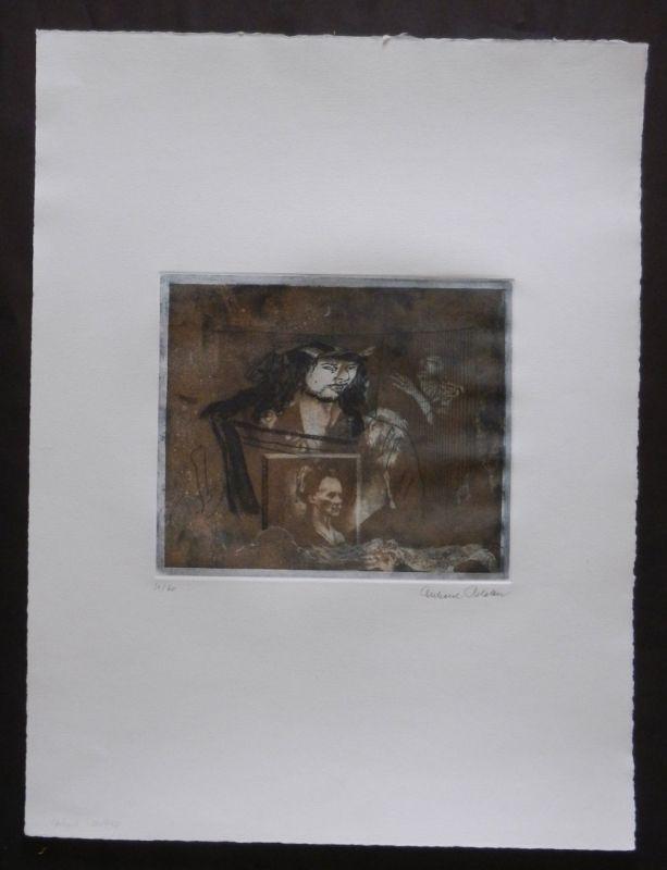 Schlotter, Eberhard: Dürer Paraphrase / Hommage a Dürer. Original Radierung (Aquatinta) auf Bütten, Nr. 51/60, links unten nummeriert und rechts unten eigenhändig signiert. Blattgröße ca 56 x 41,5 cm, Plattengröße ca. 21 x 24,5 cm.
