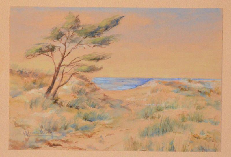 Berth, Charlotte: Dünenlandschaft mit Baum und Meer (Ostsee). Orig. Aquarell, links unten signiert. Größe ca. 16,2 x 24 cm, auf Trägerpappe montiert. Größe des Trägers: 20,5 x 29 cm.