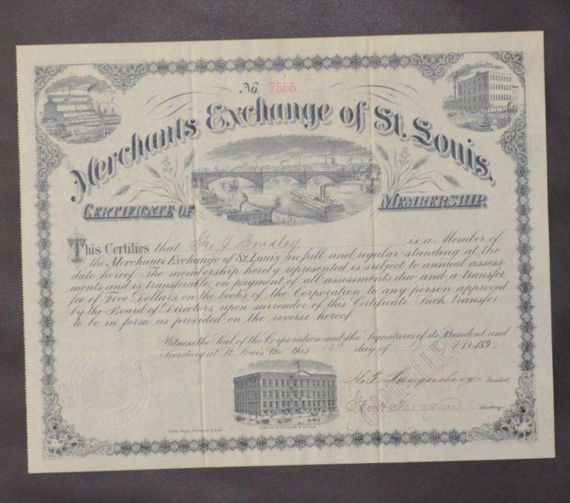 Original Stock - Share - Bond / Original Aktie - Anleihe - Anleiheschein - Beteiligungsschein: Merchants Exchange of St Louis Certificate of Membership, No. 7555. 4 Vignettes. Ca. 24,5 x 30,5 cm (cancelled / entwertet).