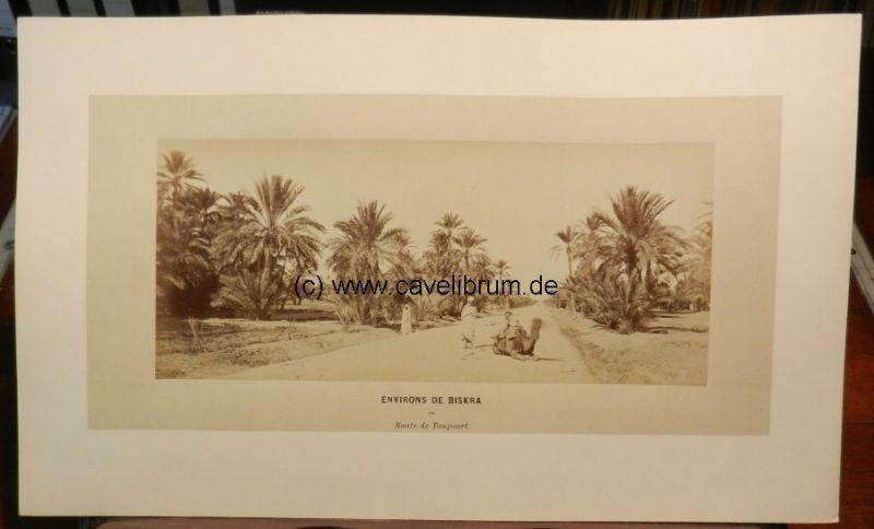 Algérie / Algeria / Algerien - Neurdein, E. (Etienne): Environs de Biskra. Route de Tougourt [Tourggout]. No. 396. / Surroundings of Biskra. Route de Tougourt [Tourggout]. Nr. 396. Orig. Albumen print / Albumine. Vintage. 12,2 x 29 cm, monté sur carton...