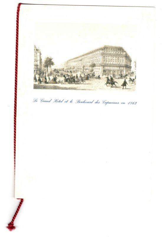 """Menukarte / Menükarte: Le Grand Hotel Inter-Continental, Paris, Place de l'Opera. Menukarte Restaurant Opera. 21 Mars 1866, Apres le succès de """"la vie Parisienne"""" Jacques Offenbach offre un souper au Grand Hotel. Nicht datiert, wohl aus ..."""