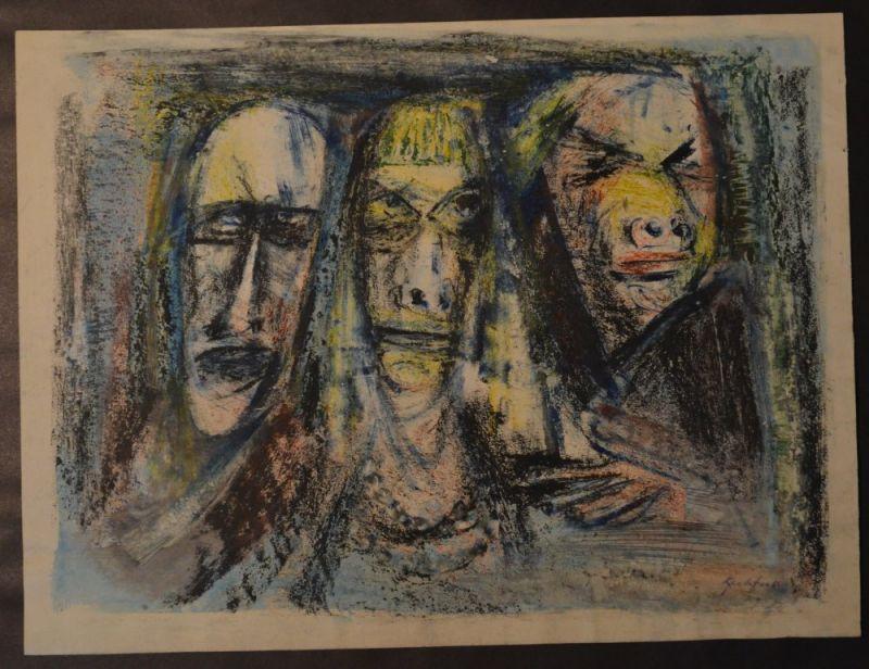 Kuhfuss, Paul: Drei Figuren / Trio. Buntstift, Farbkreide und Wasserfarbe auf Papier. Blattgröße: 37,5 x 50 cm. Rechts unten signiert.