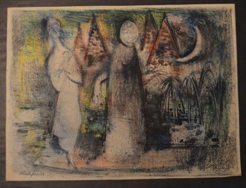 """Kuhfuss, Paul: Erscheinung / Nächtliche Figuren. Buntstiftzeichnung auf leichtem Zeichenkarton. 43,5 x 58 cm. Links unten signiert und bezeichnet """"Erscheinung"""", rechts unten mit Schabsignatur, verso eigenhändig """"Nächtliche Figuren"""" ..."""