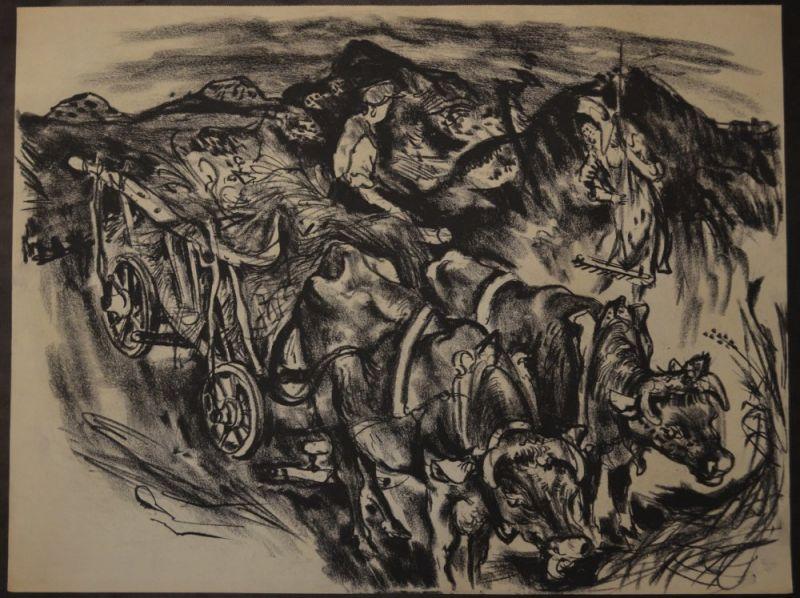 Kuhfuss, Paul: Ochsenkarren mit Bauernpaar bei der Heuernte. Kohle auf Papier, 48,5 x 64 cm, wie meist bei Zeichnungen von Kuhfuss nicht signiert.