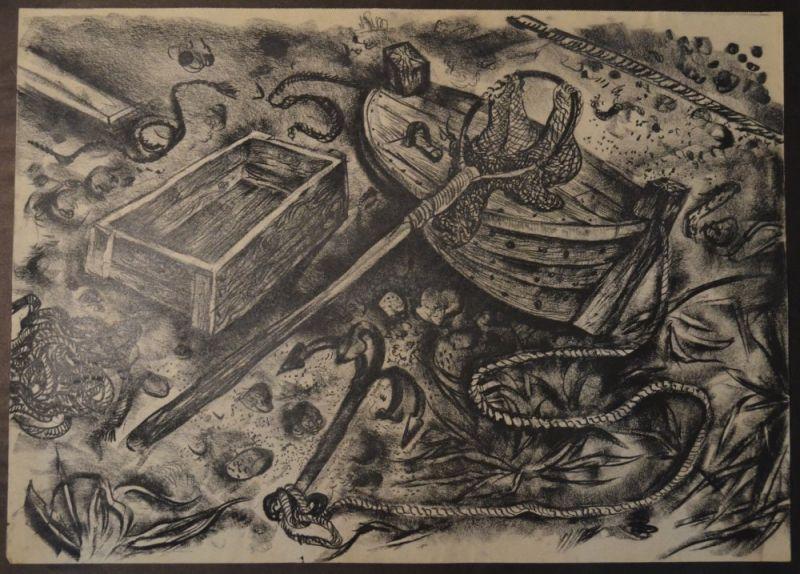 Kuhfuss, Paul: Ostsee Strandszene mit Fischerboot, Anker und Kescher. Kohle auf Papier, 46 x 64 cm, wie meist bei Zeichnungen von Kuhfuss nicht signiert.