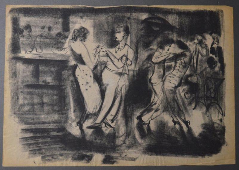Kuhfuss, Paul: Tanzende. Kohle auf dünnem leicht bräunlichem Papier, 42,5 x 60,5 cm, wie meist bei Kohlezeichnungen von Kuhfuss nicht signiert.