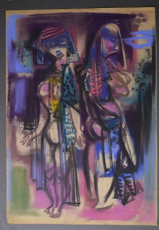 Kuhfuss, Paul: Zwei Frauen in leichter Bekleidung. Farbkreide und Kohle auf dünnem, leicht bräunlichem Papier, 42,5 x 60,5 cm, wie häufig bei Zeichnungen von Kuhfuss nicht signiert.