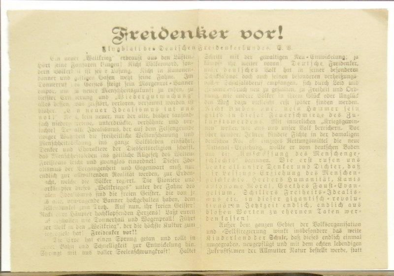 Deutscher Freidenkerbund e.V.: Freidenker vor! Flugblatt des Deutschen Freidenkerbundes E. V. Doppelseitiges Flugblatt, Blattgröße ca. 15,3 x 22 cm.