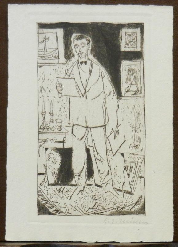 Müller, Karl Erich: Stehender Graphiksammler. Orig Radierung auf Bütten, rechts unten in Bleistift signiert. / Standing art collector. Orig. etching, signed lower right in pencil.