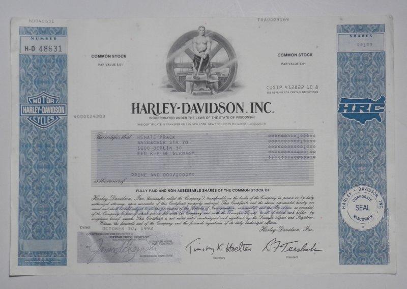 Original Stock - Share - Bond / Original Aktie - Anleihe - Anleiheschein - Beteiligungsschein: Harley Davidson Inc.: Harley Davidson Inc., Common Stock - Share. Orig. Certificate dated October 30, 1992. 20,4 x 30,5 cm.
