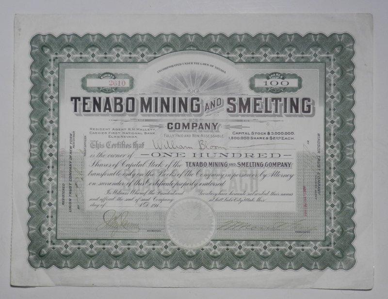 Original Stock - Share - Bond / Original Aktie - Anleihe - Anleiheschein - Beteiligungsschein: Tenabo Mining and Smelting Company: Tenabo Mining and Smelting Company. 100 Shares to William Bloom. Orig. Certificate, not dated. 23,2 x 30,5 cm.