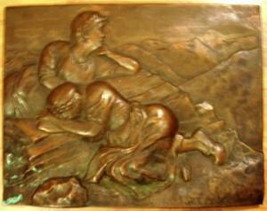 Bild, Relief - Kupferarbeit,  zwei Frauen auf einem Alpengipfel, signiert, 1931