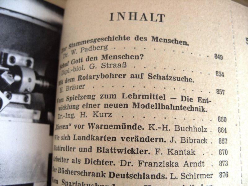 Zeitschrift Wissen und Leben, Jahrgänge 1958-1962, gebunden, DDR 4