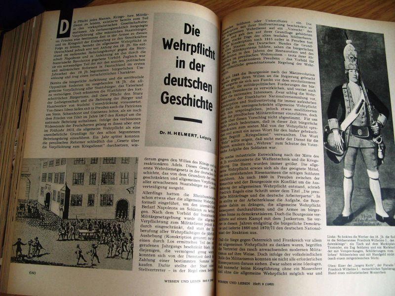 Zeitschrift Wissen und Leben, Jahrgänge 1958-1962, gebunden, DDR 9