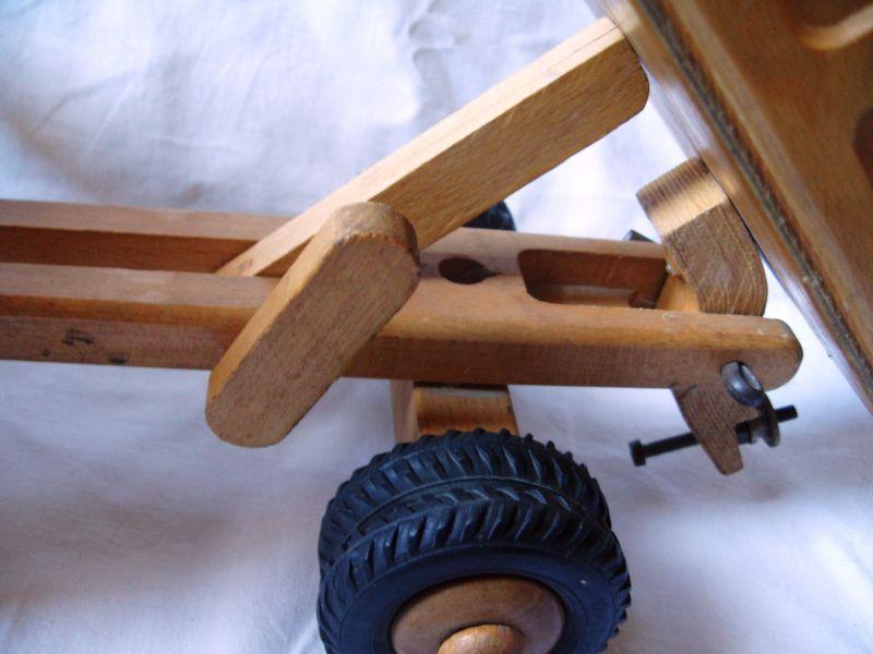Antikes spielzeug holzspielzeug lkw kipper lenkbar