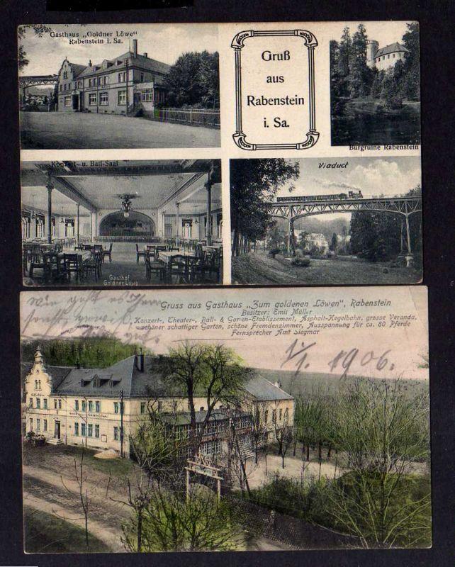 2 Ansichtskarte Chemnitz Rabenstein Gasthaus Zum goldnen Löwen Eisenbahn Viadukt Kon